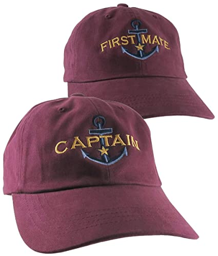 35e39885775 Amazon.com  2 Hats Nautical Golden Star Anchor Captain + First Mate  Embroidery Adjustable Navy Blue Red Trim Structured Yupoong Baseball Caps +  Options  ...