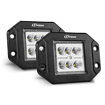 SS VISION Flush Mount Flood Led Pods - 2PCS 18W Led Light Bar, LED Work Light Driving Lights Off Road Backup Fog Lamp for Jeep Tacoma Bumper ATV UTV SUV Truck: Automotive