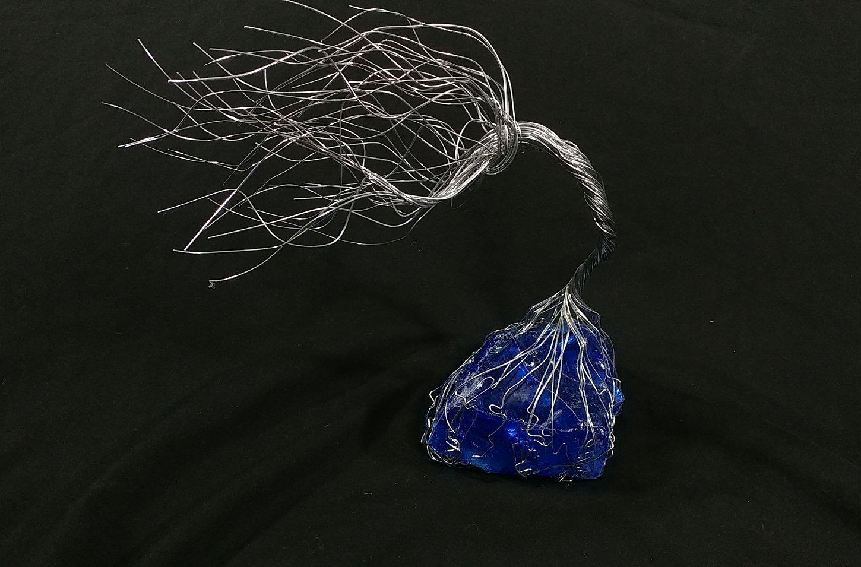 Cobalt Blue Glass & Wire Spirit Tree # 1427 Glass Art Sculpture 7th Anniversary Gift Steampunk Vintage Industrial Christmas Present