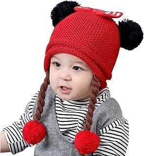 IvyH Chapeau de bébé,Bonnet pour Enfants Hiver Chapeau Chaud bébé Chapeau Filles Double Pompon Noeud Noeud Bonnet pour Enfants Hiver Chapeau Chaud bébé Chapeau Filles Double Pompon Noeud Noeud