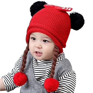 4c33180ea Gogokids Bebé Niñas Invierno Sombrero de Punto Earflap Gorras de Pompón  Pelota de Felpa