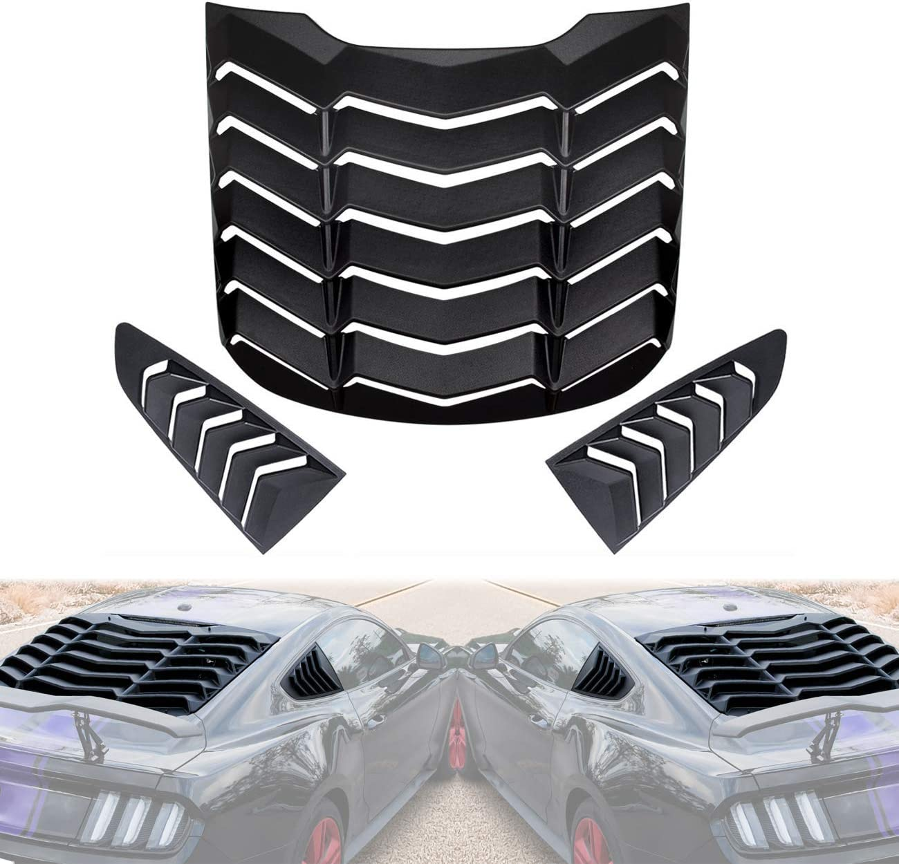 Rear/&Side Quarter Window Louvers Scoop Windshield Sun Shade Rain Cover in GT Lambo Style Matte Black ABS Fit for Ford Mustang 2015 2016 2017 2018 2019 2020