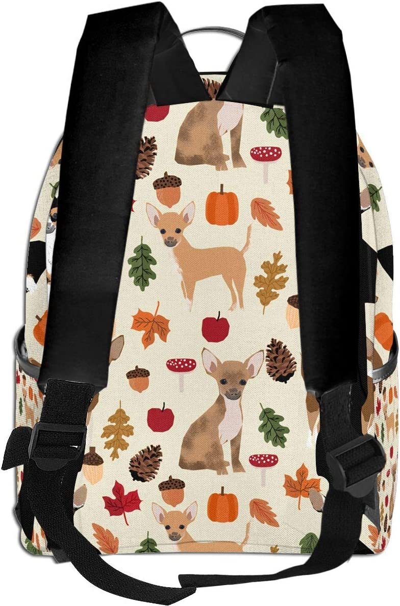 Autumn Chihuahua Pinecone Cartoon Multi-Functional College Bags Students High School Girls Casual Daypack Kids Travel Backpack School Laptop Bookbags Teens Boy Outdoor Accessories