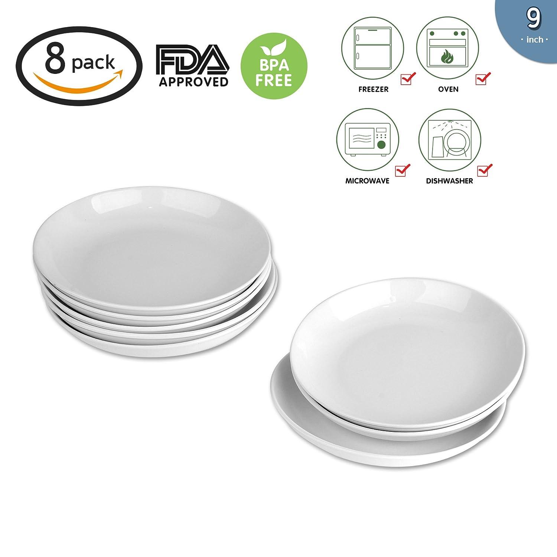 9-inch Porcelain Pasta/Salad Bowls,White Soup Bowl Set, Wide & Shallow, Set of 8 - Spiral Pattern Accguan 4335470162