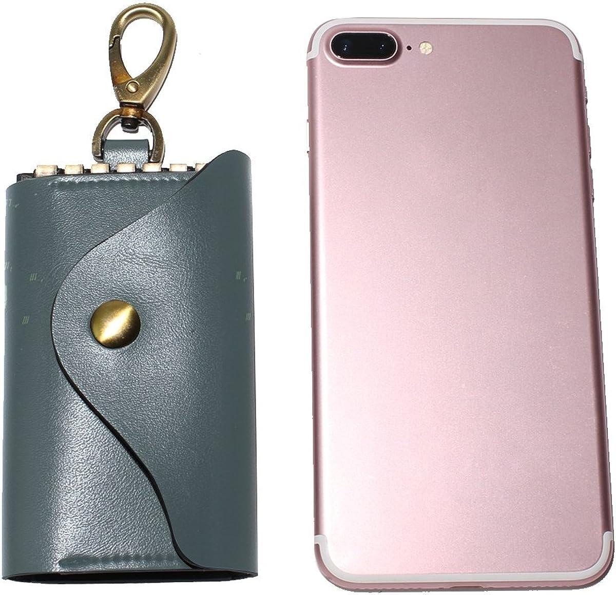DEYYA Retro Deer Head Leather Key Case Wallets Unisex Keychain Key Holder with 6 Hooks Snap Closure