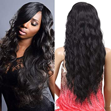 58b6884daca Synthetic Wigs for Women Body Wave Lace Front Wig Long Wavy Side Parting  Heat Resistant Replacement...