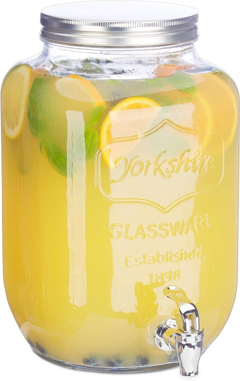 Relaxdays Dispensador de Bebidas con Grifo, Cristal, Vintage, Expendedor de refrescos, 8 L, Transparente, 32.00 x 20.00 x 20.00 cm