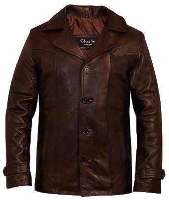 Chaqueta de piel para hombre, diseño vintage en color marrón de Charlie London