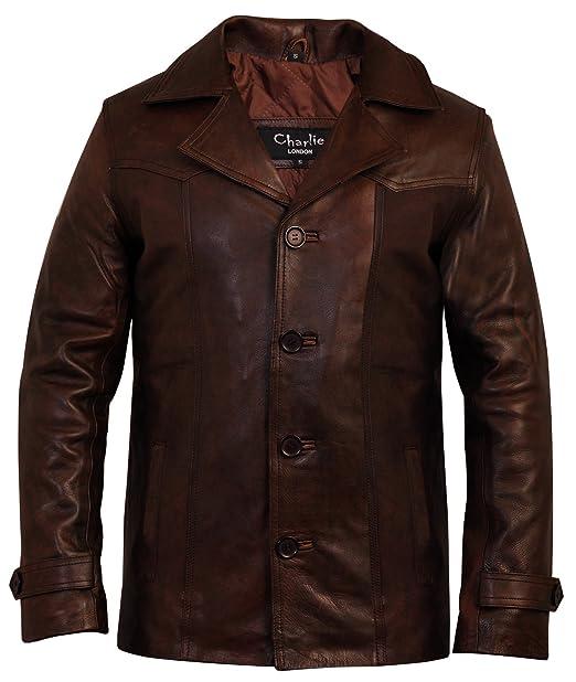 Chaqueta de piel para hombre, diseño vintage en color marrón de Charlie London: Amazon.es: Ropa y accesorios