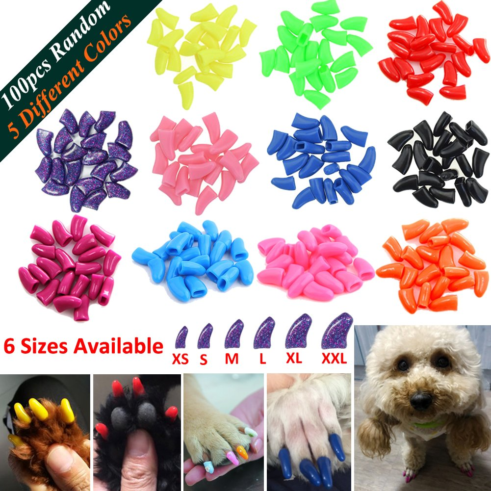 JOYJULY 100pcs Dog Nail Caps Soft Claws Covers Nail Caps for Pet Dog Pup Puppy Paws Home Kit, 5 Different Colors RANDOM, with Glue, Tips and Instruction, M