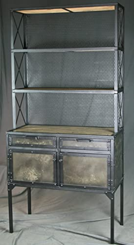 hutch industrial gray cabinet caged htm bookmark storage