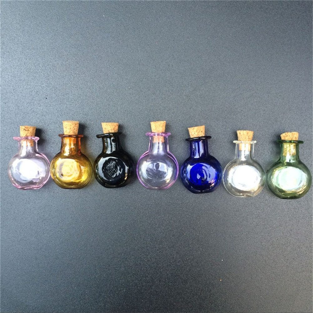 TAI DIAN Mini Glass Color Bottles Oblate Round Bottles with Cork Little Bottles Wedding Gift Tiny Jars Vials Mix 7 Colors