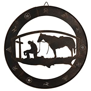 "EBEI Praying Cowboy Metal Wall Art Wall Decor Circle Western Home Decor 15"" Copper Rustic Retro Metal Texas Wall Decorations"