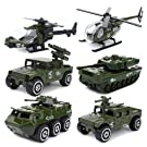 Deardeer 6 Cars 1 Set Die-cast Metal Playset Toy Vehicle Alloy Car Models Toy Military Helicopter Tank Jeep Truck Armored Car for kids