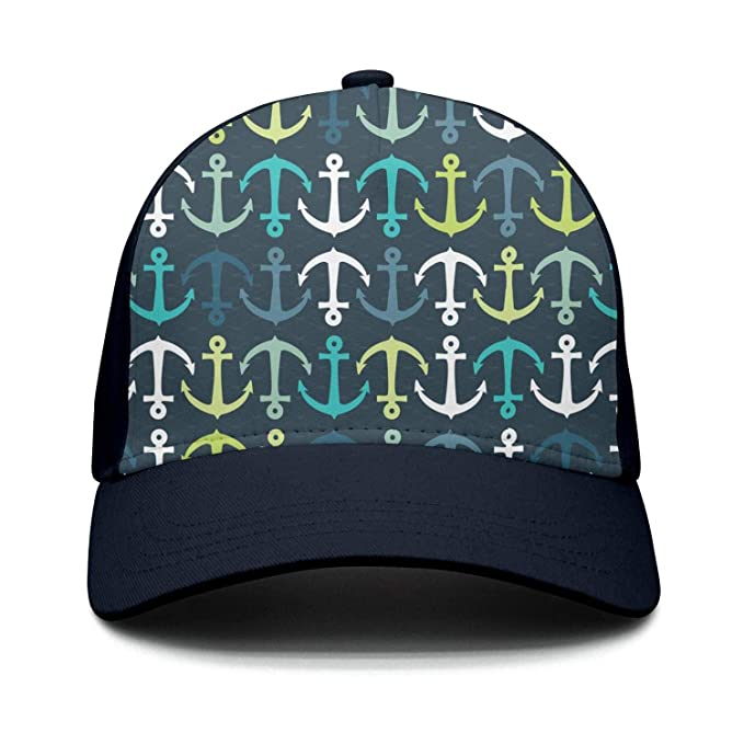 Colorful Nautical Anchor Unisex Navy Blue Snapback Hat Adjustable Chassic  Caps 3fe5366b1538