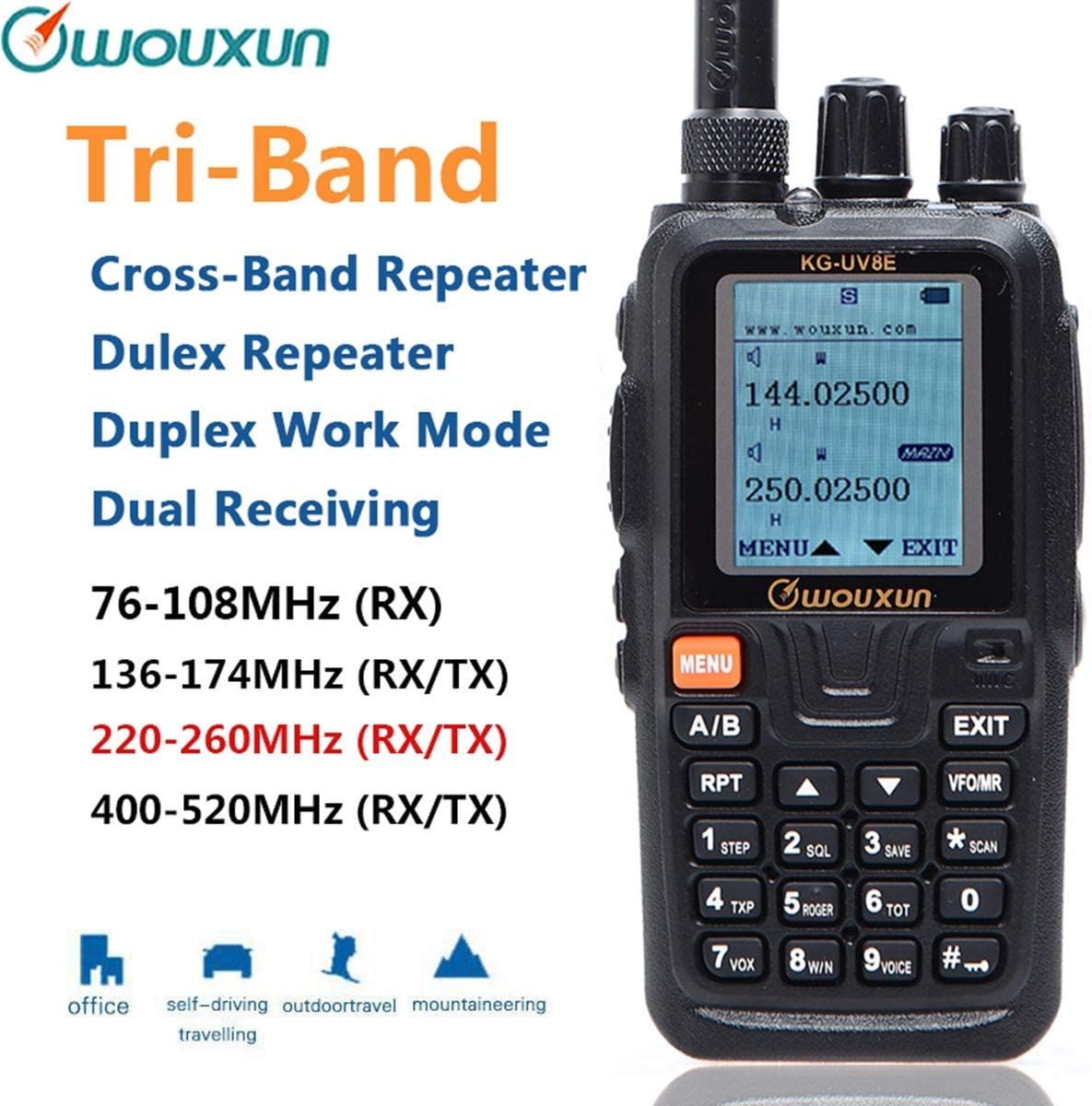 Wouxun KG-UV8E Tri-Band 136-174 220-260 400-520MHz Cross Band Repeater Duplex Work Mode 999CH VOX SOS CTCSS DCS Ham Two Way Radio