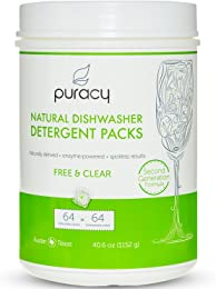 Puracy Natural Dishwasher Detergent Packs, 64ct, Enzyme-Powered Automatic Dish Tabs, Free & Clear, 64-Tablets