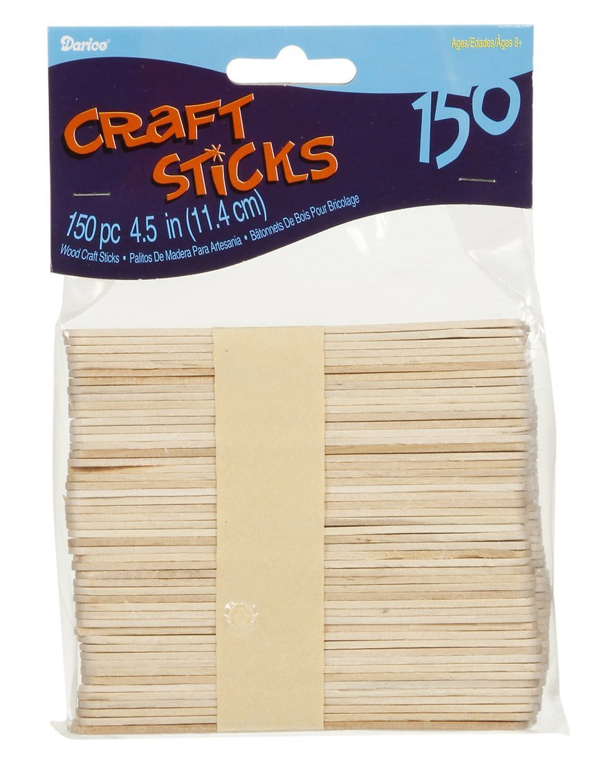 Craft Wood Sticks 4.5 Inches Natural, 150 Pieces (12 Pack)