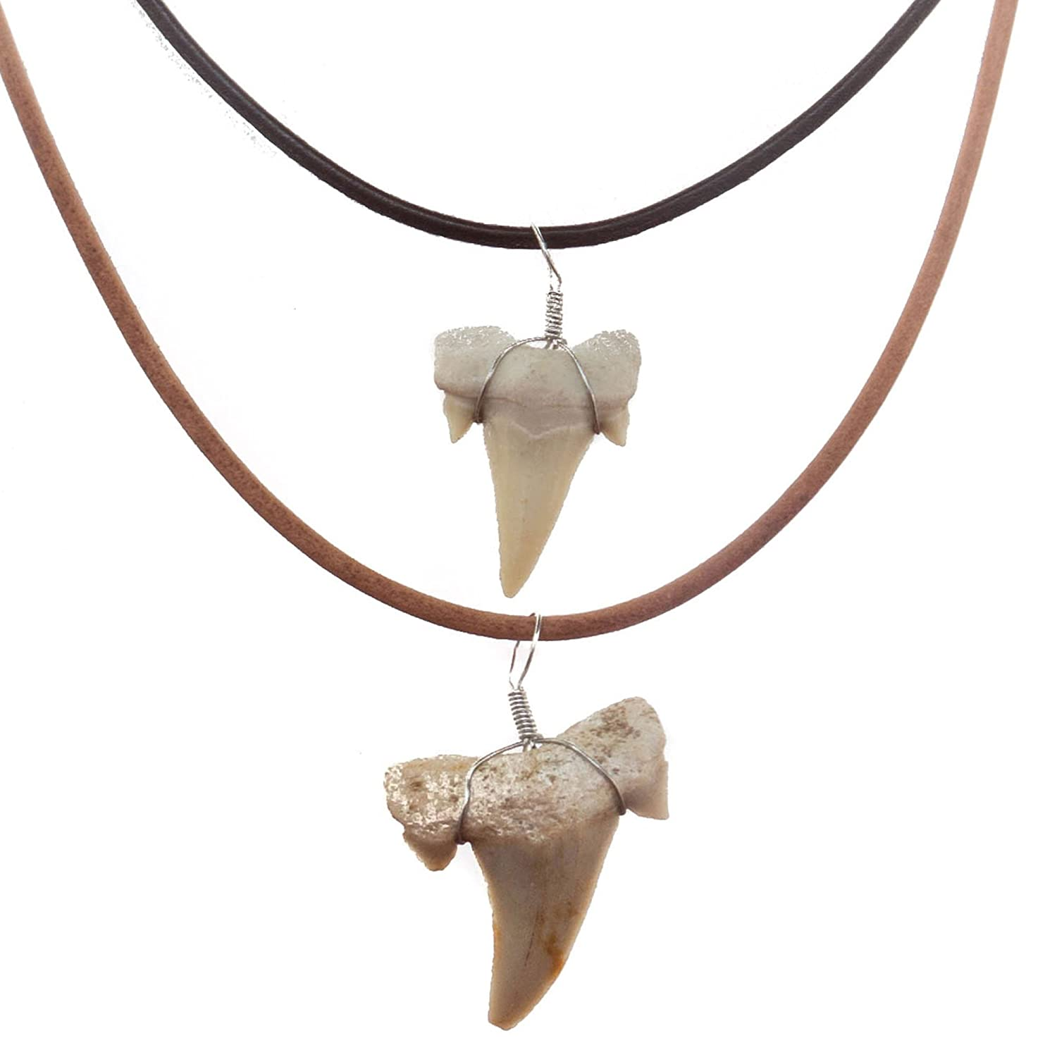 FROG SAC Real Shark Tooth Necklace for Men Boys Teens Kids (2 Pieces) Genuine Fossil Shark Tooth Pendant on Greek Leather Necklace – Mens Classic Surfer Necklace - Fashion Jewelry by
