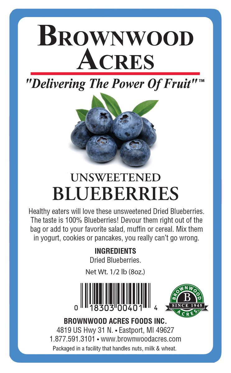 Unsweetened Dried Blueberries by Brownwood Acres - No Added Sugars, Oils or fillers - Just Blueberries! (1/2 Pound)