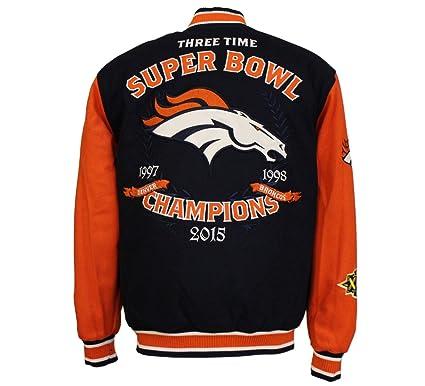 995224f3457 J.H. Design NFL Men s Denver Broncos 3 Time Super Bowl Champions Wool  Reversible Varsity Jacket