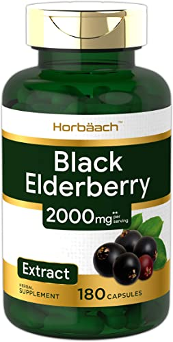 Horbaach Black Elderberry Capsules 2000mg 180 Pills Non-GMO