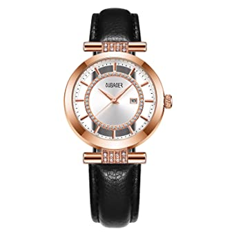 ... Quartz Watch OUBAOER Crystal Accented Leather Band Watch for Women Transparent Watch with Date Lady Wristwatches for Business(Rose Black): Watches