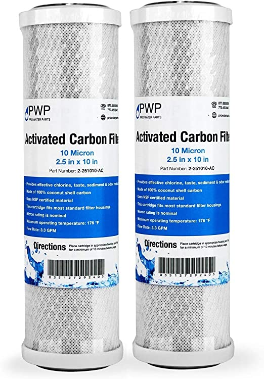 """Activated Carbon CTO Water Filter Cartridge Standard 2.5 x10/"""" 10 Micron 25 Pack"""