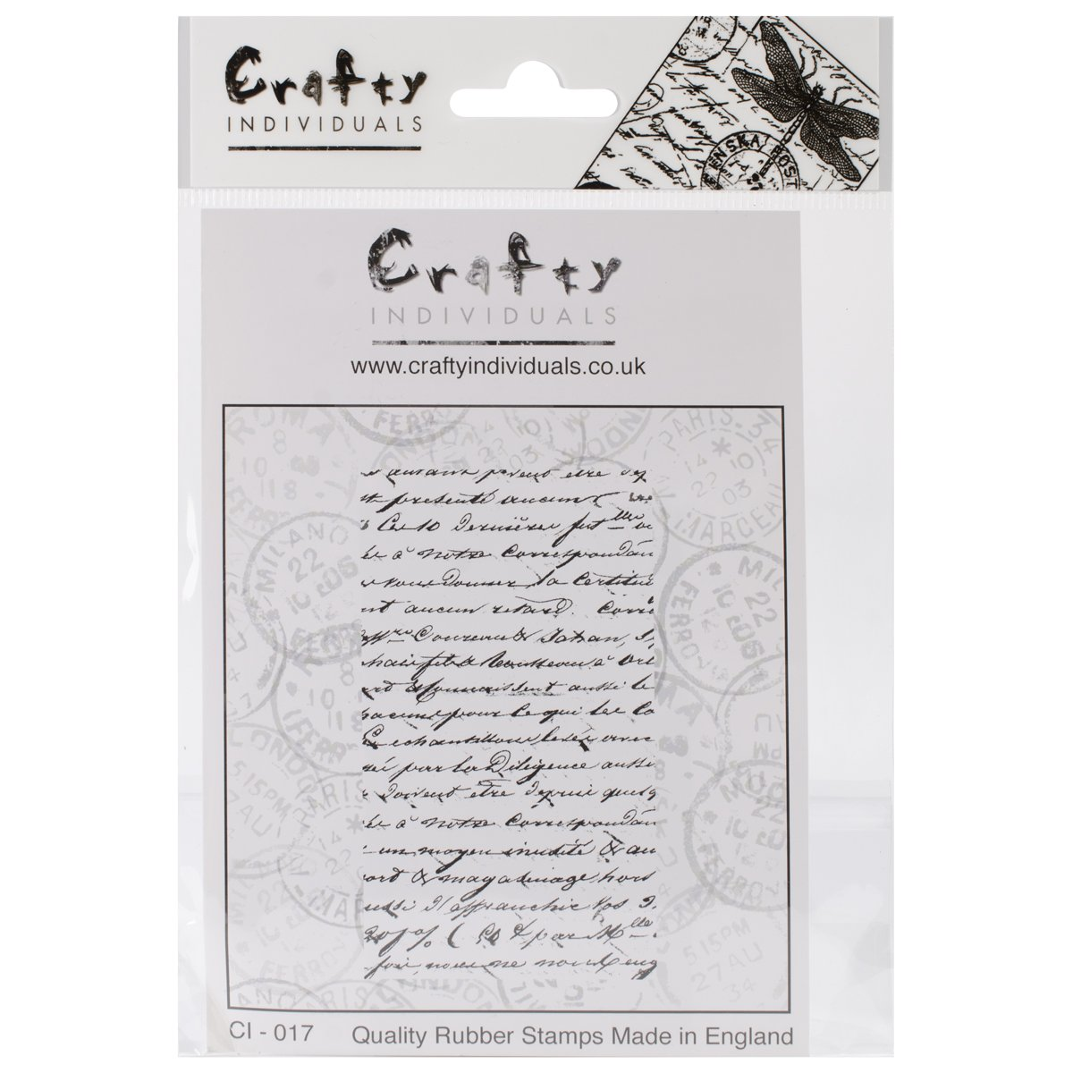 Crafty Individuals CI-017 French Script Unmounted Red Rubber Stamp, 51mm x 90mm
