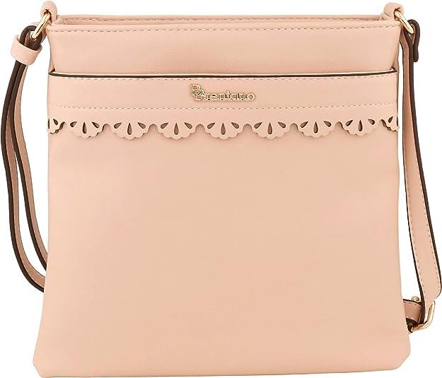 B BRENTANO Vegan Medium Crossbody Handbag Purse (Pink)