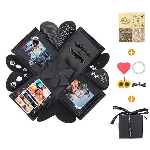 KATELUO Explosion Box,Caja de Regalo Creative Explosion Love Memory DIY Álbum para cumpleaños Aniversario Boda San Valentín Día de la Madre Navidad ...