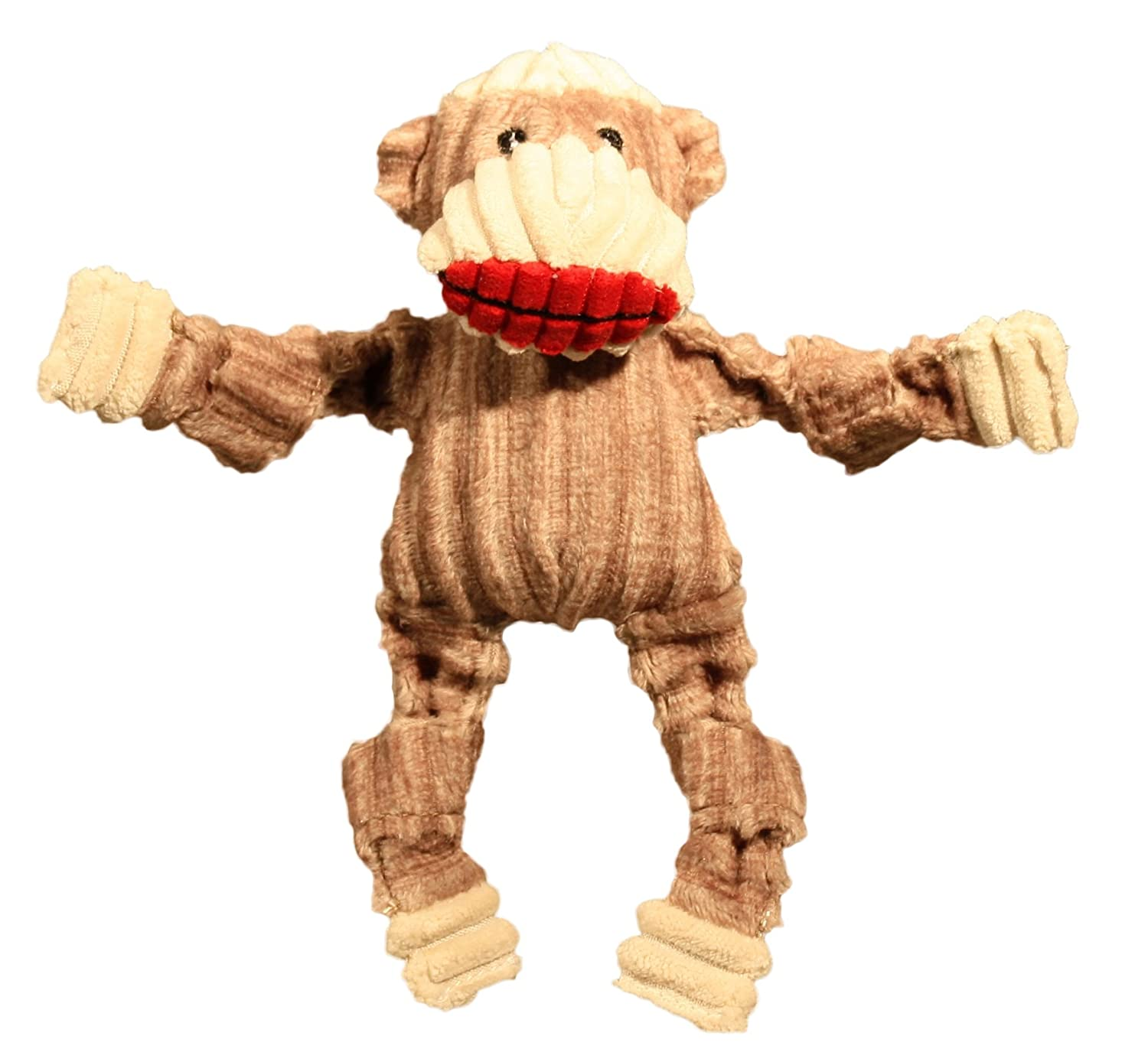 HuggleHounds Plush Corduroy Durable Sock Monkey Knottie Dog Toy