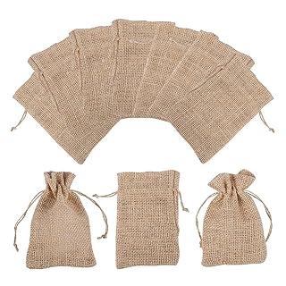 PandaHall Elite 30pcs Perù colore sacchetti regalo Borse di tela naturale con cordoncino per festa di matrimonio progetti di arte e artigianato regali snack gioielli e Natale,9x7cm PH PandaHall