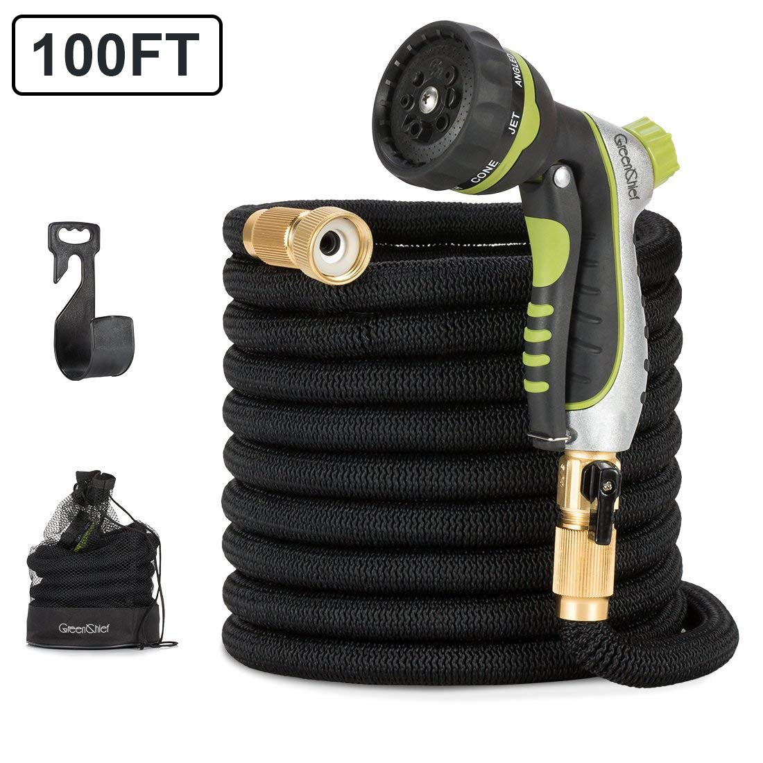 GreenChief Garden Hose 100 FT heavy duty, Expandable All New Flexible Water Hose with Durable Latex Core and Leak-proof Solid Brass Fittings,8