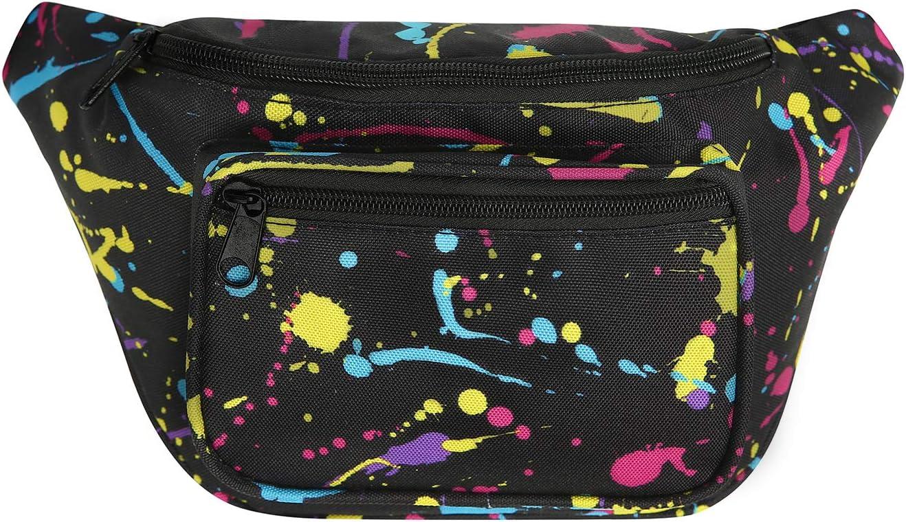 HDE Fanny Pack [80's Style] Waist Pack Outdoor Travel Crossbody Hip Bag (Neon Paint Splatter)