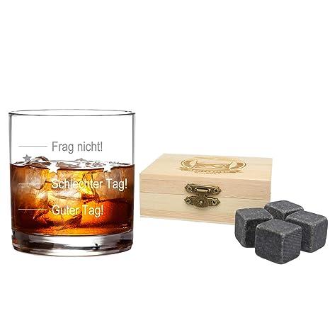 FORYOU24 Whiskeyglas mit guter Tag, schlechter Tag Gravur Geburtstag  Geschenkidee Whisky-Glas graviert mit Whiskysteinen