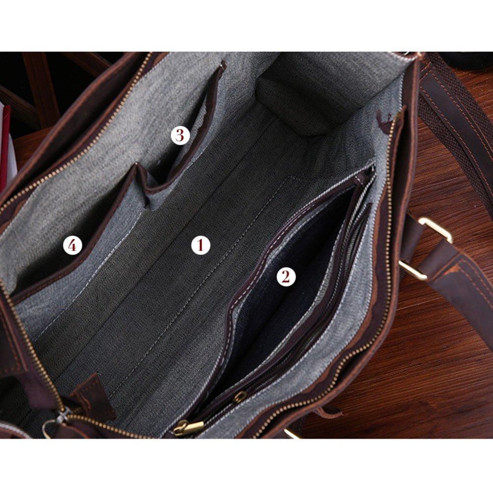 AJZGF Business Briefcase Mens Crossbody Retro Leather Tote One Shoulder Briefcase