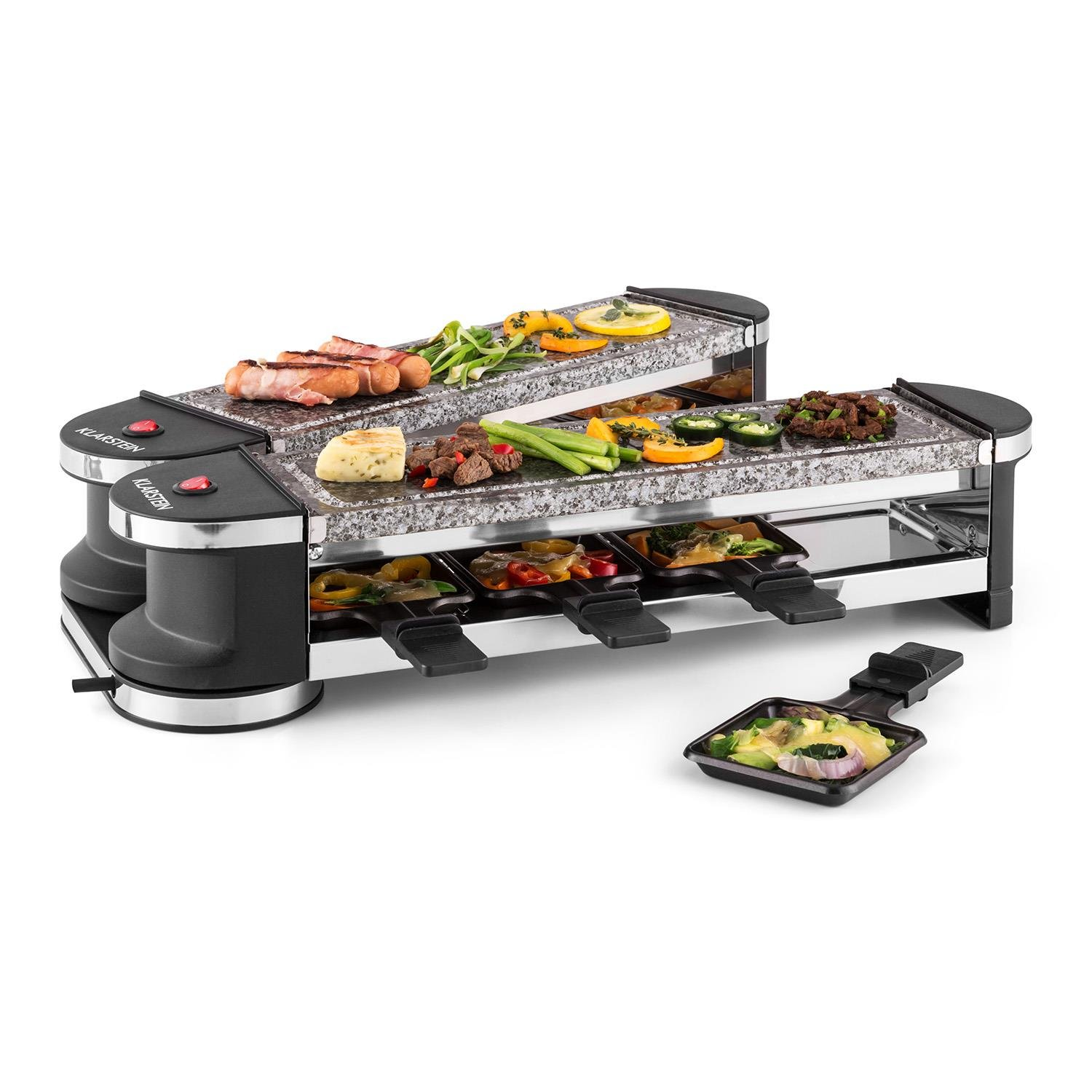 Klarstein Tenderloin 100 Raclette Table Grill Party Grill 1200 Watt Suitable for 8 Persons 8 pans & 1 Wooden Spatula Non-stick Coating Free Positioning 2 x Natural Stone Plates Black