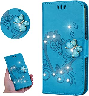 Miagon for Huawei Y6 2019 Floral Wallet Case,Bling Crystal Diamond Butterfly Buckle Embossed Love Heart Pu Leather Kickstand Magnetic Clasp Protective Flip Cover