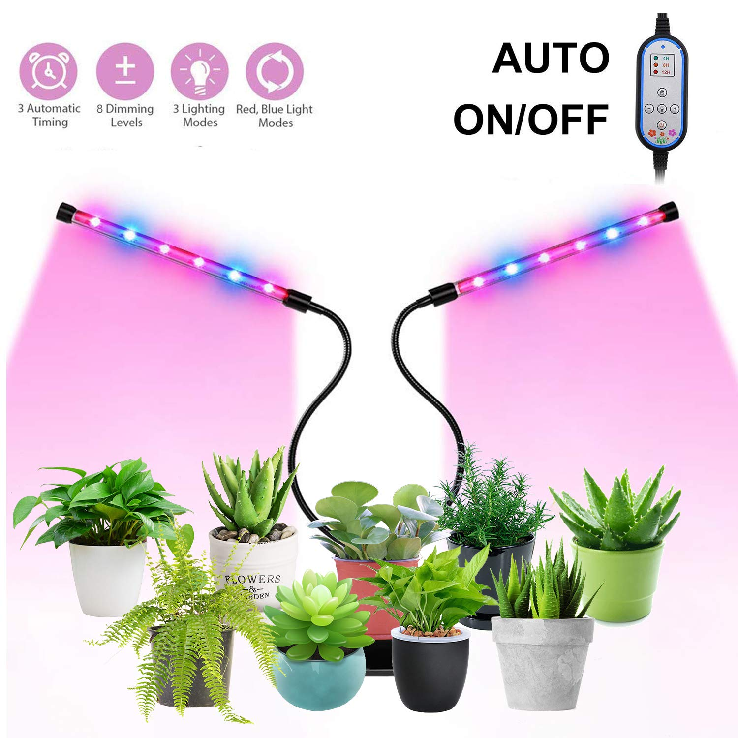Plant Grow Lights, 24W Grow Light for Indoor Plants, Auto Turn ON&Off Every Day, 8 Dimmable Levels,4/8/12H Memory Timing, 360°Adjustable Gooseneck for Greenhouse Hydroponics Gardening by Elivern