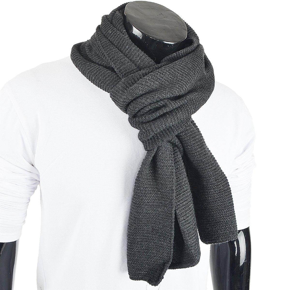 Oversized Navy Blue E5081 FORBUSITE Winter Scarf for Men Knit