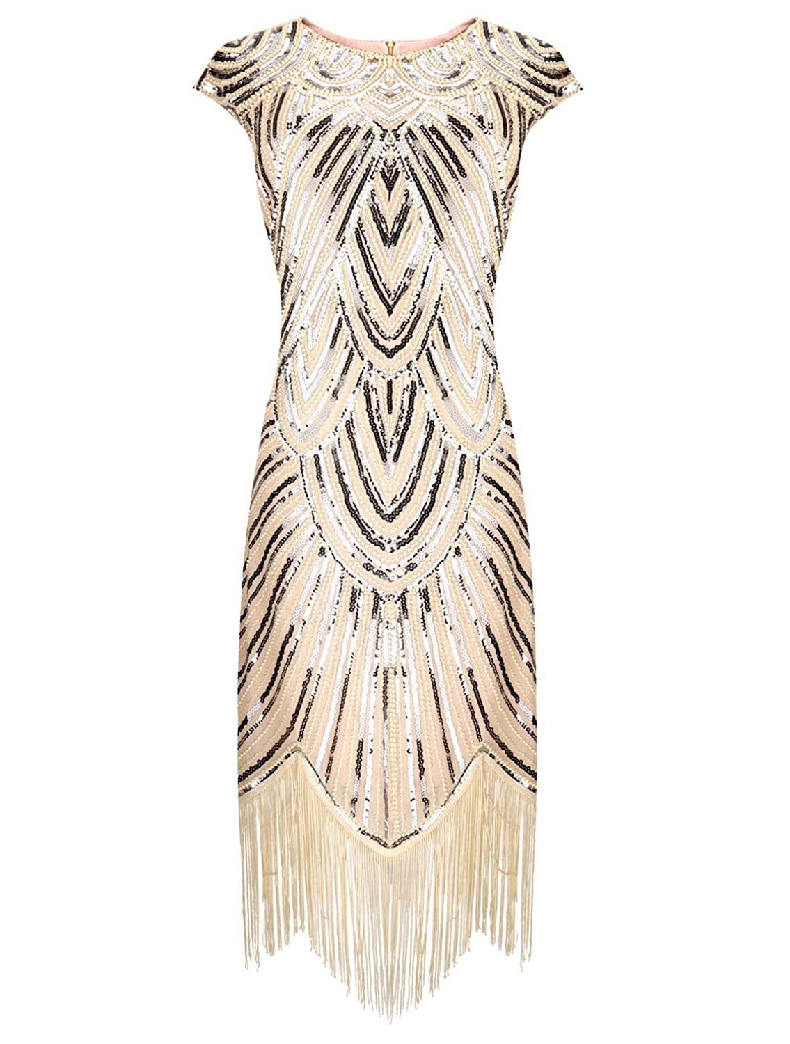 Roaring 20s Costumes- Flapper Costumes, Gangster Costumes Belinla 1920s Gatsby Retro Diamond Sequined Embellished Fringed Flapper Dress $36.99 AT vintagedancer.com