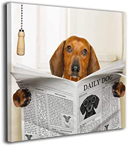"""Sausage Dachshund Dog Reading Newspaper Modern Picture Canvas Wall Art Print Paintings Artwork For Living Room Wall Decor And Home Decor Framed Ready To Hang 12""""x12"""""""