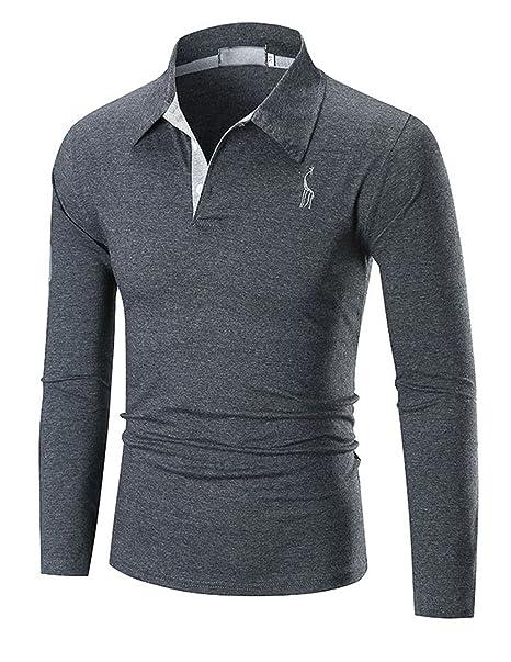 YCHENG Hombre Polo Manga Larga Moda Lujo Jirafa Bordado Contraste Collar  Golf Camiseta (medium 85115a124d6ff