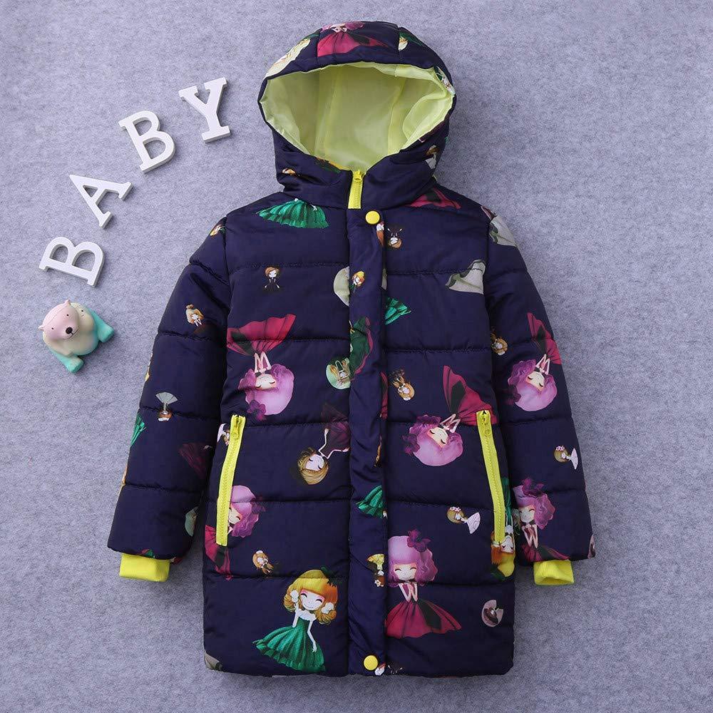 HHOO Children Kids Girls Long Sleeved Cartoon Hooded Keep Warm Wadded Jacket Clothes