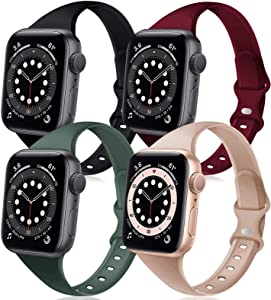 DYKEISS 4 Pack Sport Slim Silicone Band Compatible for Apple Watch Band 38mm 40mm 42mm 44mm, Thin Soft Narrow Replacement Strap Wristband for iWatch Series SE/6/5/4/3/2/1 Women & Men