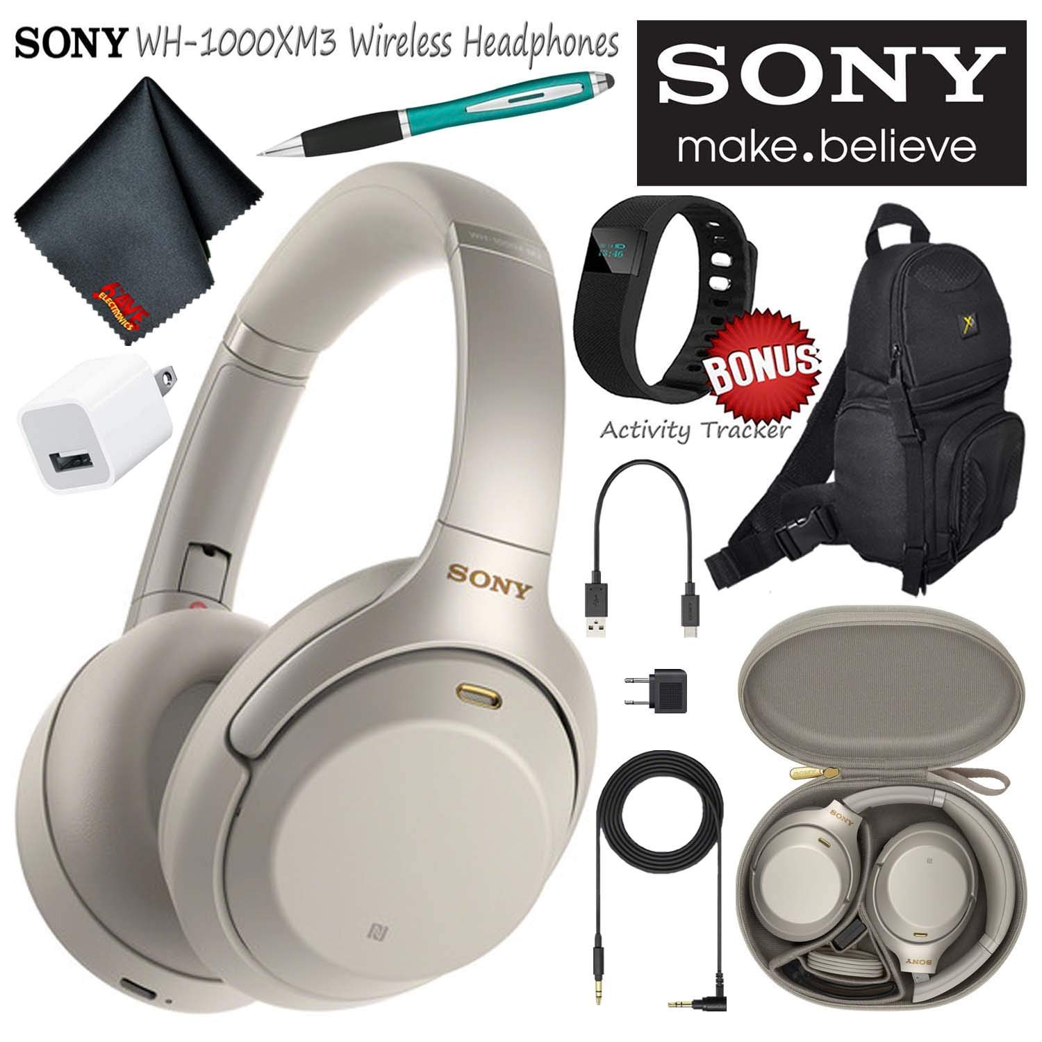 Sony WH-1000XM3S Wireless Bluetooth Noise-Canceling Over-Ear Headphones (Silver) Essential Commuter Bundle Kit with Sling Backpack + Stylus + More