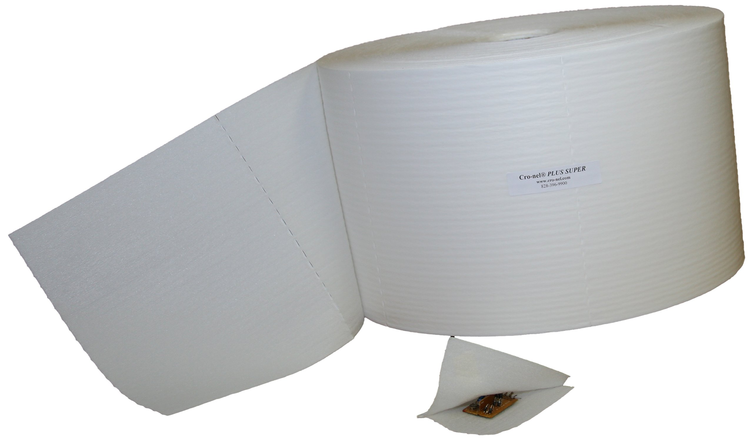 Cro-nel CPSs12p6lf500 Plus Super Protective Packaging, 2.3 mil Film Laminated to 1/16'' Microfoam with cohesive on the foam, Cold Seal, Self Stick, 12'' Wide Roll, 6'' Perforation Lengths, 500 Feet Long and 3'' Core