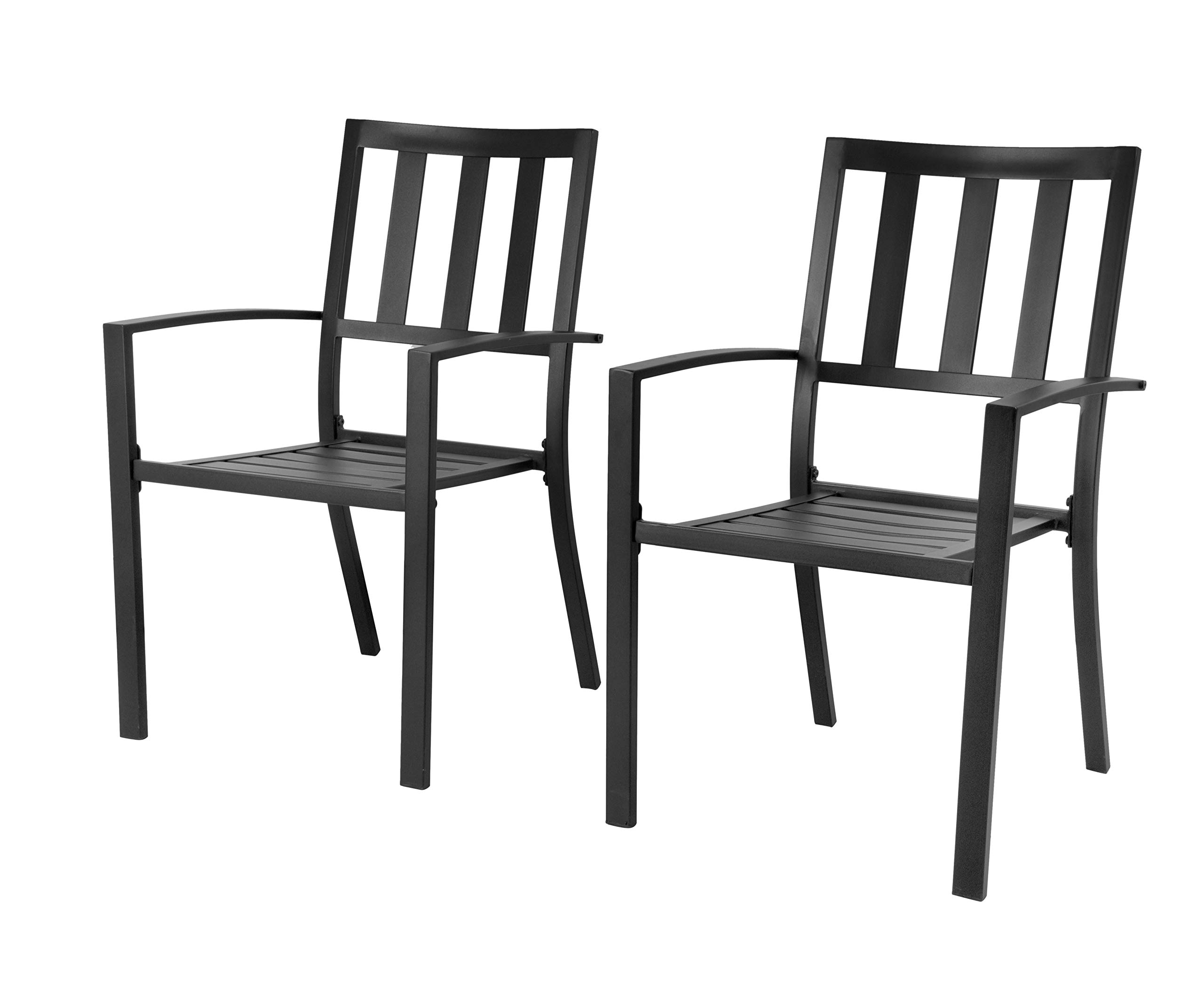 EMERIT Patio Wrought Metal Indoor Outdoor Stackable Dining Arm Chairs Set of 2,Black