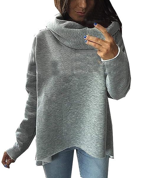 BOLAWOO Sweatshirts Mujer Otoño Invierno Elegantes Sudaderas Cuello Alto Manga Larga Mode De Marca Color Sólido Anchos Sudadera Irregular Sport Shirt Casual ...